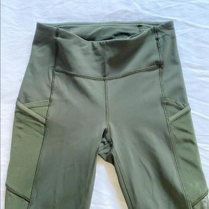 Lululemon speed tights army green crops